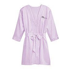 Women's Personalized Embroidered Satin Robe With Pockets - Lavender / Light Purple