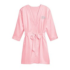 Women's Personalized Embroidered Satin Robe with Pockets - Light Pink