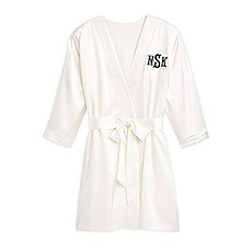 Women's Personalized Embroidered Satin Robe with Pockets - White