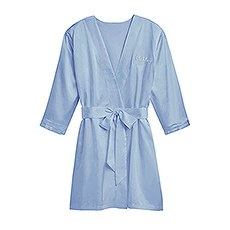 Women's Personalized Embroidered Satin Robe with Pockets- Periwinkle