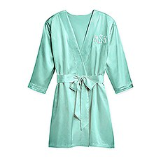 Women's Personalized Embroidered Satin Robe with Pockets - Mint Green