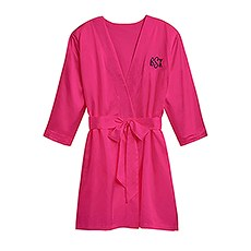 Women's Personalized Satin Robe with Pockets - Fuchsia Pink
