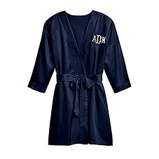 Premium Silky Kimono Robe With Pockets - Navy Blue