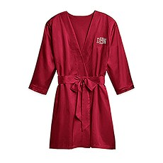 Women's Personalized Embroidered Satin Robe with Pockets - Ruby Red