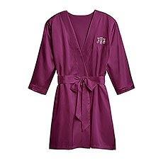 Women's Personalized Embroidered Satin Robe with Pockets - Plum Purple