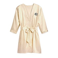 Women's Personalized Embroidered Satin Robe with Pockets - Gold