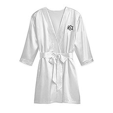 Women's Personalized Embroidered Satin Robe with Pockets - Silver