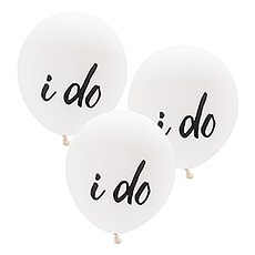 "Large 17"" White Round Wedding Balloons - I Do - Set of 3"