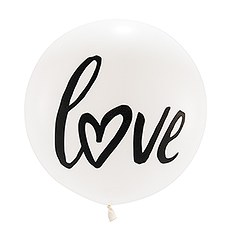 "Extra Large 36"" White Round Wedding Balloons - Love"