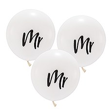 "Large 17"" White Round Wedding Balloons - Mr - Set of 3"
