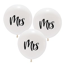 "Large 17"" White Round Wedding Balloons - Mrs - Set of 3"