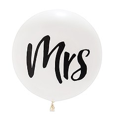 "36"" Jumbo White Round Wedding Balloon - ""Mrs"""