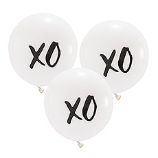 "Large 17"" White Round Wedding Balloons - XO - Set of 3"