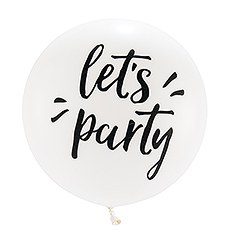 "Extra Large 36"" White Round Wedding Balloons - Let's Party - Set of 3"