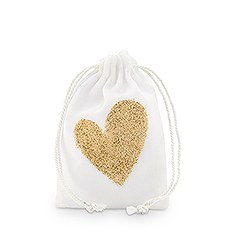 Gold Glitter Heart Muslin Drawstring Favor Bag - Small (12)