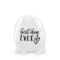 """best day ever"" Print Muslin Drawstring Favor Bag - Small (12)"