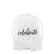 """celebrate"" Print Muslin Drawstring Favor Bag - Small"
