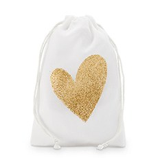 Gold Glitter Heart Muslin Drawstring Favor Bag - Medium