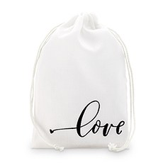 """love"" Print Muslin Drawstring Favor Bag - Medium"