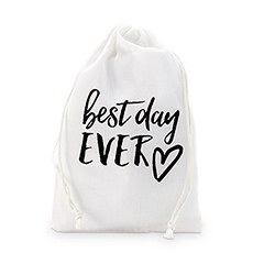 """best day ever"" Print Muslin Drawstring Favor Bag - Medium"