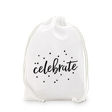 """celebrate"" Print Muslin Drawstring Favor Bag - Medium"