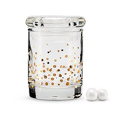 Gold Foil Confetti Mini Glass Favor Jar with Lid (6)