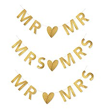 Customizable Newlywed Wedding Banner - Gold Glitter