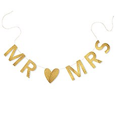 Mr & Mrs Gold Glitter Wedding Banner