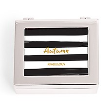 Small Personalized Modern Metal Jewelry Box– Striped Fabulous Print