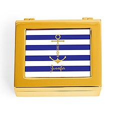 Small Personalized Modern Metal Jewelry Box– Navy-Blue Striped Anchor Print