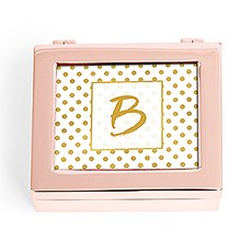 Small Personalized Modern Metal Jewelry Box– Gold Polka-Dot Print