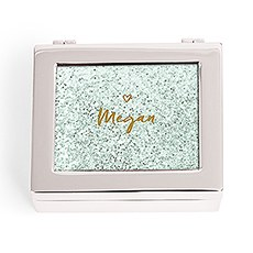 Small Personalized Modern Metal Jewelry Box– Sweet Heart Glitter Print