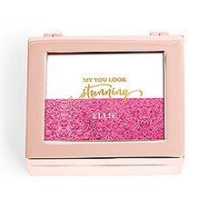 Small Personalized Modern Metal Jewelry Box– Stunning Glitter Foil Print