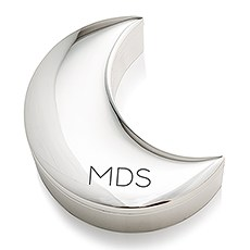 Small Personalized Silver Half Moon Jewelry Box – Monogram Engraving