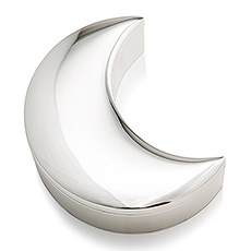 Silver Half Moon Jewelry Box – Blank Plate