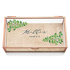 Large Personalized Rectangle Glass Jewelry Box - Greenery