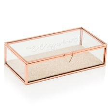Large Personalized Rectangle Glass Jewelry Box– Elegant Calligraphy Print