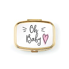 Small Gold Baby Keepsake Case - Pink Heart