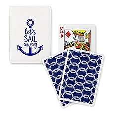 "Navy Foil ""Let's Sail Away"" Playing Cards"