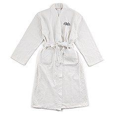 Men's Personalized Embroidered Long Waffle Robe - White