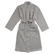Men's Personalized Embroidered Long Waffle Robe - Gray