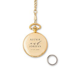 Personalized Pocket Wedding Ring Holder with Chain - Modern Couple Etching