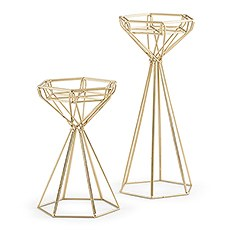 Tall Gold Geometric Candle Holder Set