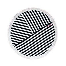 Personalized Round Beach Towel - Navy Blue and White Geometric Striped Pattern