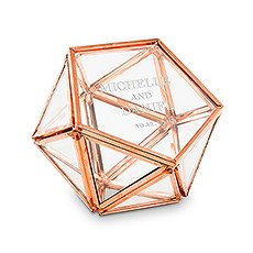 Small Glass Geometric Terrarium Ring Box - Classic Couple Etching