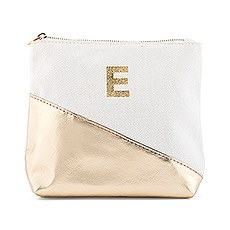 Small Personalized Makeup Bag for Women- Metallic Gold Dipped