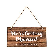 Small Personalized Wooden Wedding Sign - Natural - Script Print