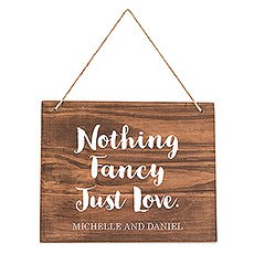 Medium Personalized Wooden Wedding Sign - Natural - Script Print