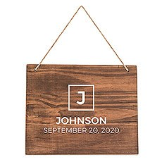 Medium Personalized Wooden Wedding Sign - Natural - Block Initial Print