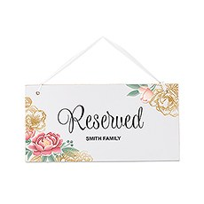 Small Personalized Wooden Wedding Sign - White Modern Floral